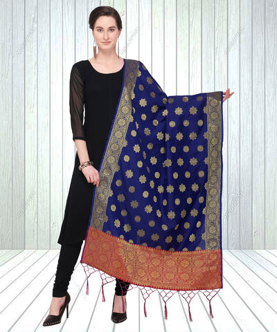 Navy Blue Color Jacquard Women's Dupatta - 57951