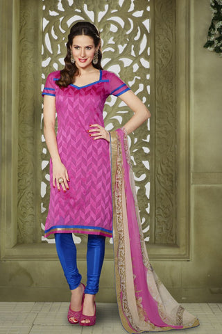 Magenta Color Chanderi Un Stitched Salwar - 58013