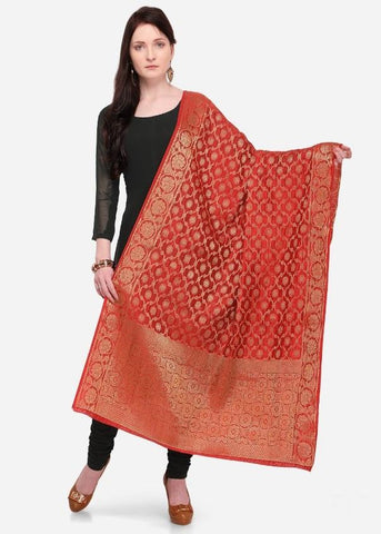 Red Color Banarasi Women's Dupatta - 58015
