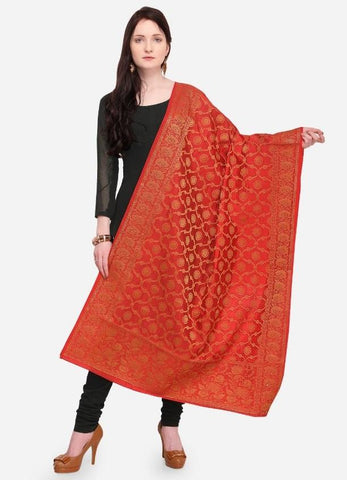 Red Color Banarasi Women's Dupatta - 58017