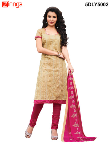 Beige Color  Chanderi Dress Material  - 5DLY5002
