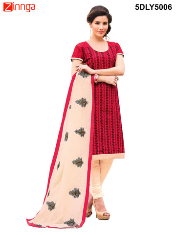 Red Color  Chanderi Dress Material  - 5DLY5006