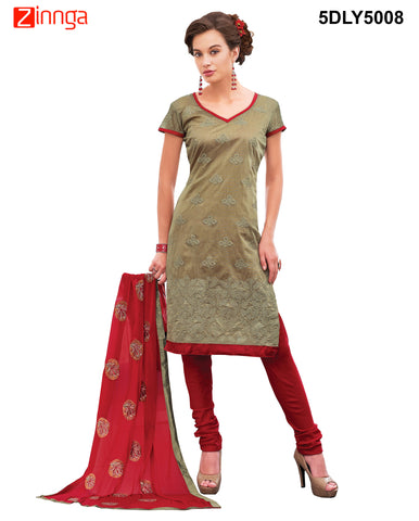 Brown Color  Chanderi Dress Material  - 5DLY5008