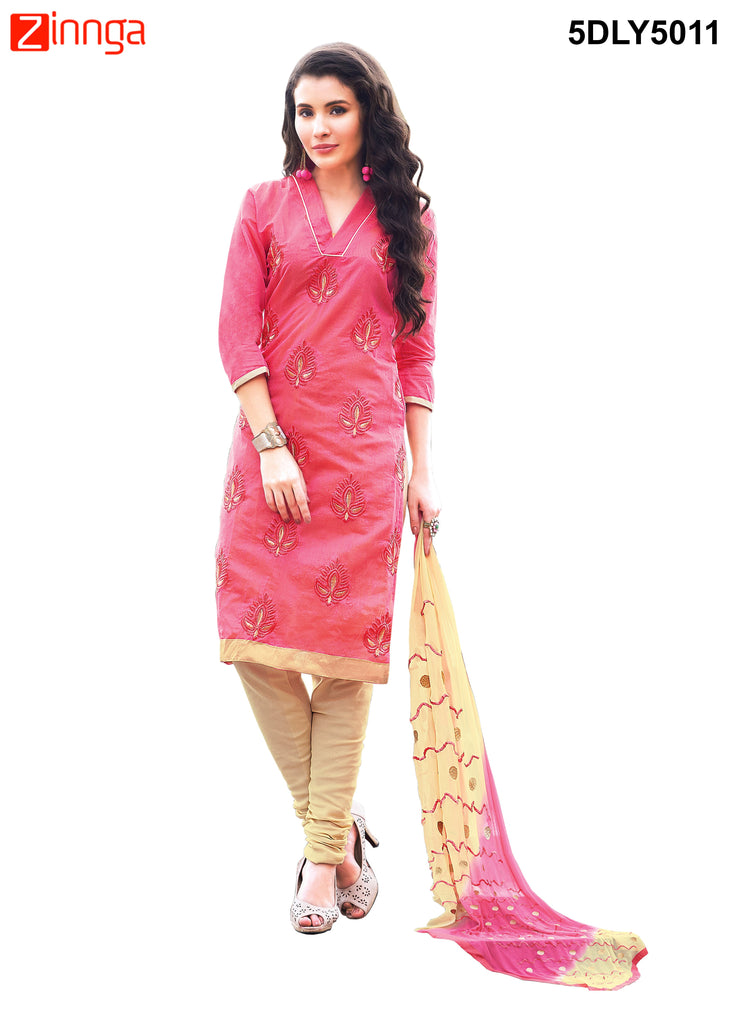 PinkColor  Chanderi Dress Material