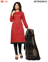 Red Color Chanderi Dress Material