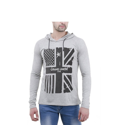 Grey Color Cotton Mens Tshirt - 6-fullhoody-551