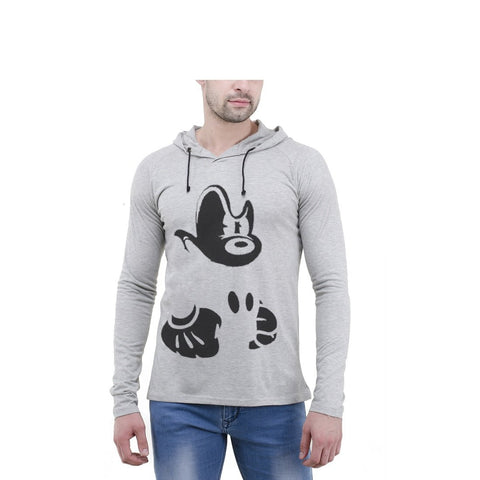 Grey Color Cotton Mens Tshirt - 6-fullhoody-601