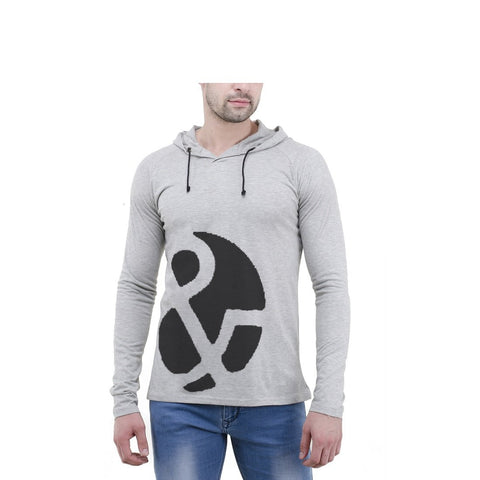 Grey Color Cotton Mens Tshirt - 6-fullhoody-606