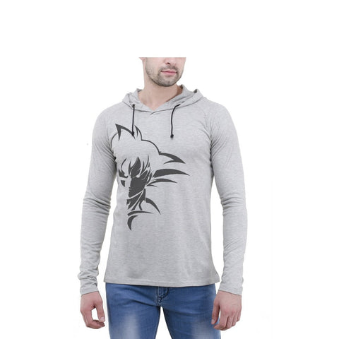 Grey Color Cotton Mens Tshirt - 6-fullhoody-607