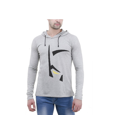 Grey Color Cotton Mens Tshirt - 6-fullhoody-612