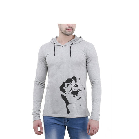Grey Color Cotton Mens Tshirt - 6-fullhoody-613