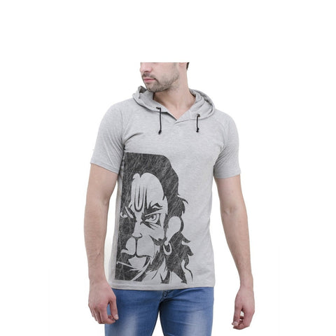 Grey Color Cotton Mens Tshirt - 6-halfhoody-550