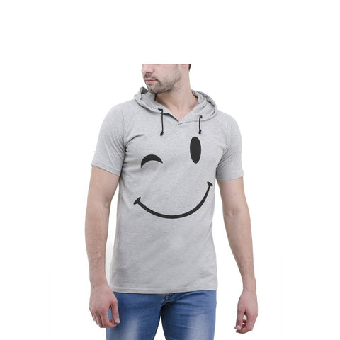 Grey Color Cotton Mens Tshirt - 6-halfhoody-604