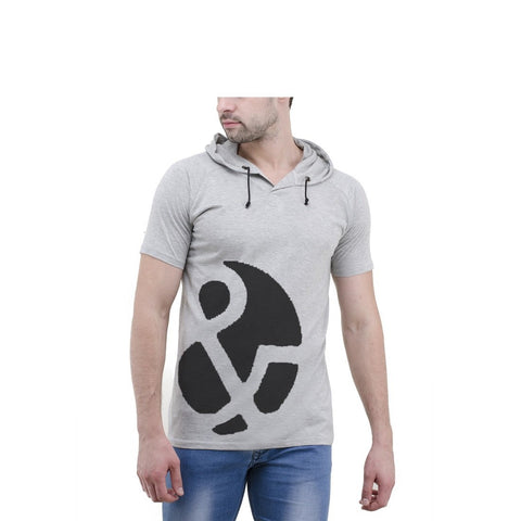 Grey Color Cotton Mens Tshirt - 6-halfhoody-606