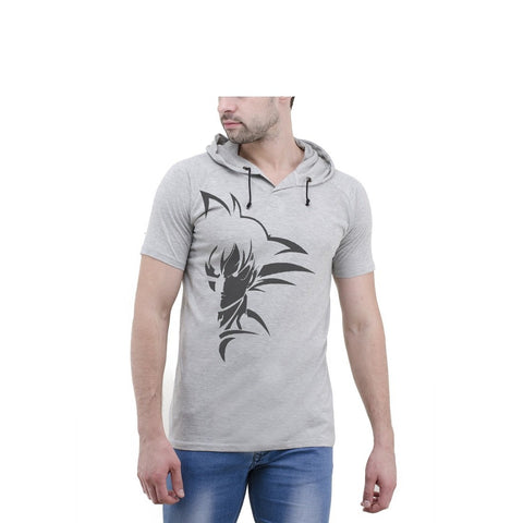 Grey Color Cotton Mens Tshirt - 6-halfhoody-607