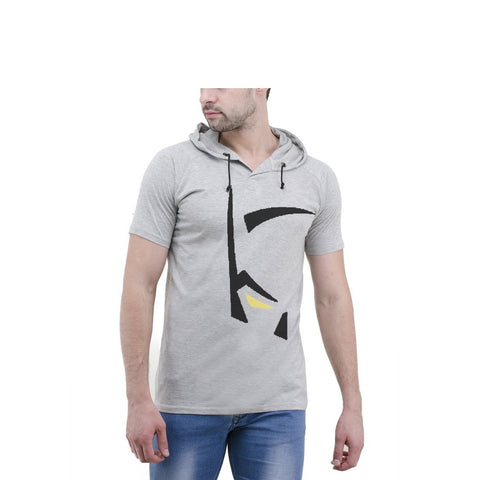Grey Color Cotton Mens Tshirt - 6-halfhoody-612