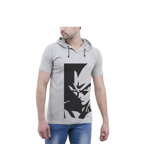 Grey Color Cotton Mens Tshirt - 6-halfhoody-614