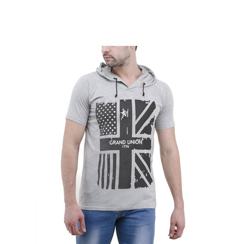 Grey Color Cotton Mens Tshirt - 6-halfhoody551