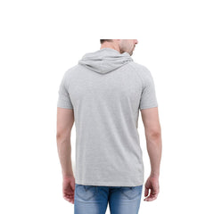 Grey Color Cotton Mens Tshirt - 6-halfhoody-608