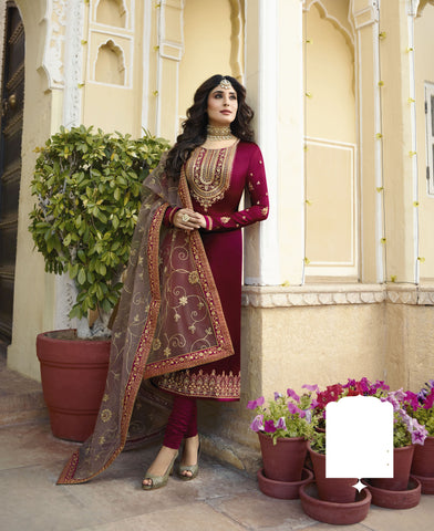 Maroon Color Satin Georgette Women's Semi-Stitched Salwar - 60168