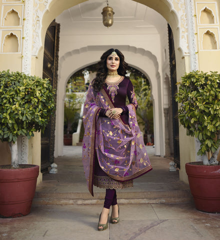 Purple Color Satin Georgette Women's Semi-Stitched Salwar - 60172