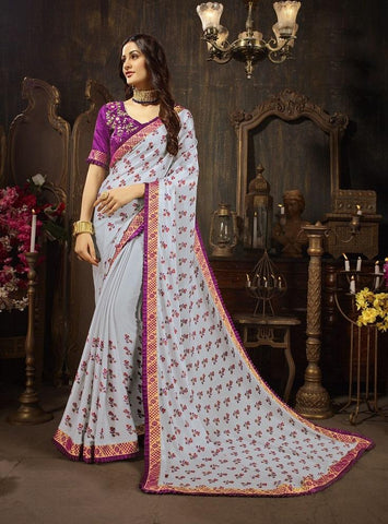 Off White Color Silk Georgette Women's Saree - 61137