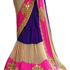 Purple Color Georgette Women's Saree - RKC-Purpleprasang