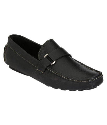 Black Color Leather Men's Loafers - 6174A_L_Black