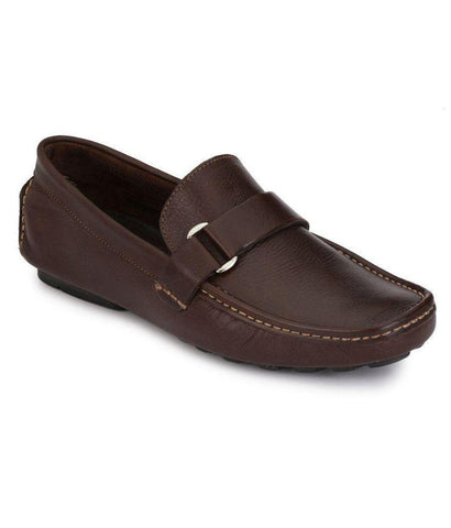 Brown Color Leather Men's Loafers - 6174A_L_Brown