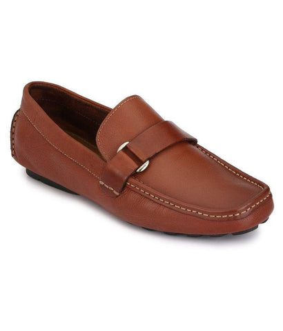 Tan Color Leather Men's Loafers - 6174A_L_Tan