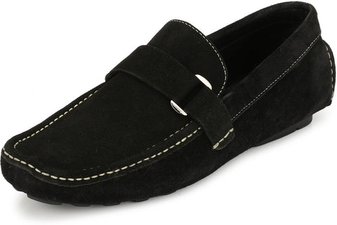 Black Color Suede Leather Men's Loafers - 6174A_S_Black