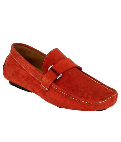 Red Color Suede Leather Men's Loafers - 6174A_S_Red