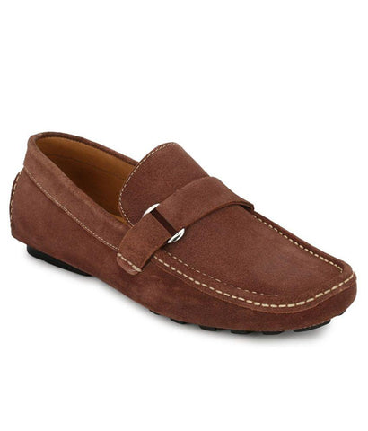 Stone Color Suede Leather Men's Loafers - 6174A_S_Stone