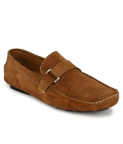 Tan Color Suede Leather Men's Loafers - 6174A_S_Tan