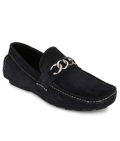 Black Color Suede Leather Men's Loafers - 6174B_S_Black