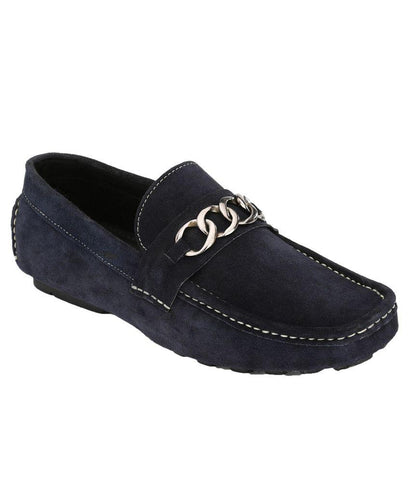 Blue Color Suede Leather Men's Loafers - 6174B_S_Blue