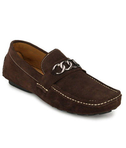Brown Color Suede Leather Men's Loafers - 6174B_S_Brown