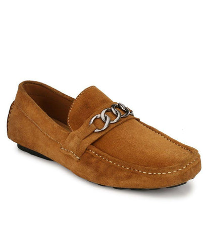 Tan Color Suede Leather Men's Loafers - 6174B_S_Tan