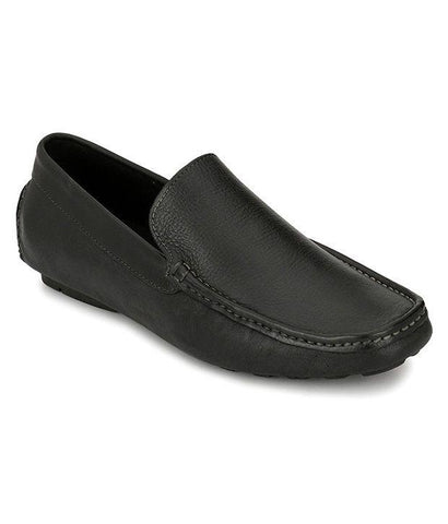 Black Color Leather Men's Loafers - 6174_L_Black