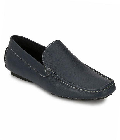 Blue Color Leather Men's Loafers - 6174_L_Blue