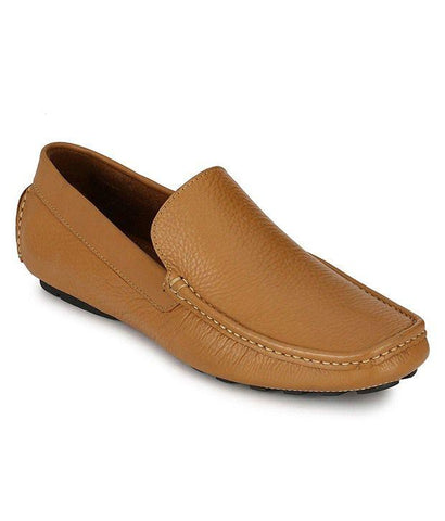 Tan Color Leather Men's Loafers - 6174_L_Tan