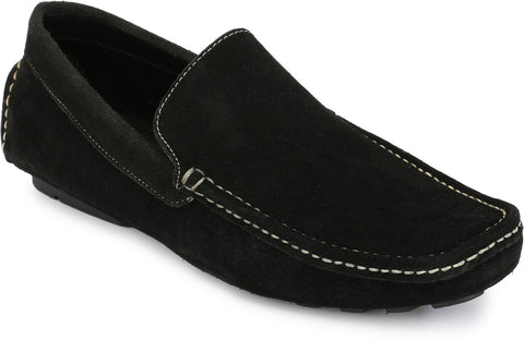 Black Color Suede Leather Men's Loafers - 6174_S_Black