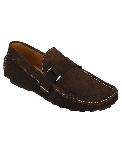 Brown Color Suede Leather Men's Loafers - 6174_S_Brown
