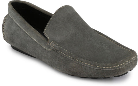 Grey Color Suede Leather Men's Loafers - 6174_S_Grey