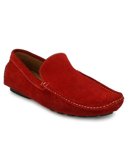 Red Color Suede Leather Men's Loafers - 6174_S_Red