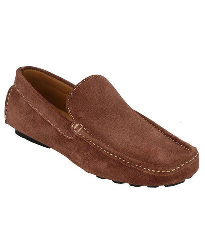 Stone Color Suede Leather Men's Loafers - 6174_S_Stone