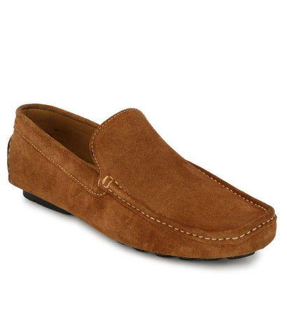 Tan Color Suede Leather Men's Loafers - 6174_S_Tan
