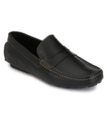 Black Color Leather Men's Loafers - 6198_L_Black
