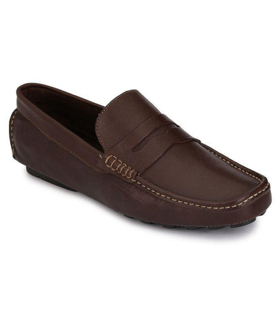 Brown Color Leather Men's Loafers - 6198_L_Brown