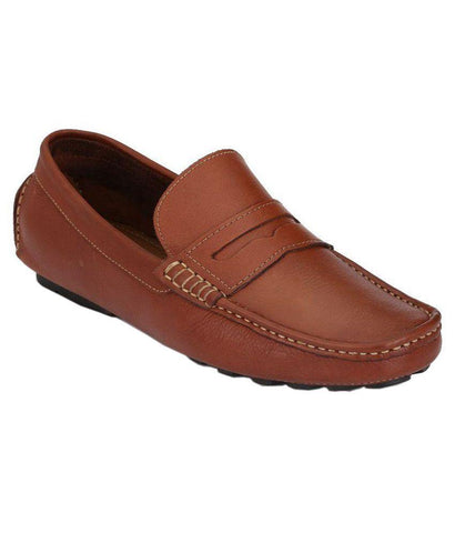 Tan Color Leather Men's Loafers - 6198_L_Tan